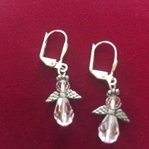 Small Clear Crystal Angel earrings, NWT
